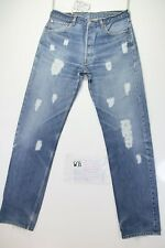 Levis 501 Customized (cod. WB326) tg.48 W34 L36 jeans remake con Rotture vintage