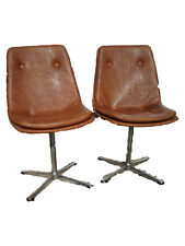 Pair Vintage Swival chair 70s cognac colored  leatherette cross base midcentury
