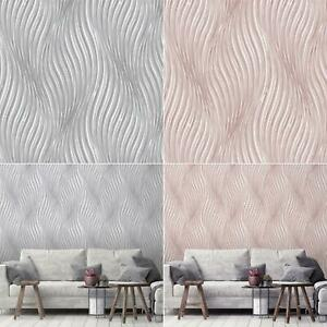 Debona Waves Wallpaper Grey Or Pink Geometric Modern Wall Covering