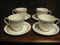 4 VINTAGE ROYAL WORCESTER TEA CUPS AND SAUCERS PETITE FLEUR SWIRL c 1960's