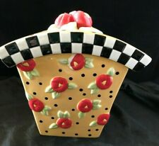 Vintage Mary Engelbreit Red Roses on Yellow with Polka Dots Canister Cookie Jar