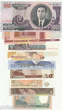9 different currency of world (with KOREA 5000 won) -- UNC / HIGH VALUE
