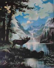 Bugling Elk Mountains Stream Moon Light by Wainwright aka R Atkinson Fox