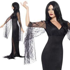Morticia Ladies Costume Addams Family Immortal Soul Fancy Dress Halloween