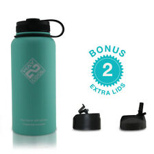 Stainless Steel Fitness Sport Water Bottle Thermos-PLUS 3 LIDS-Multicolor-32 oz