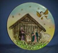 "Vtg Three Dimensional Nativity Scene Plate 8.5"" Hand Painted Angel Tilso Japan"