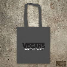 "VEGANS ""off the dairy"" Eco TOTE BAG like vans animal rights protest ALF shopper"