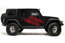 Vinyl Decal Wrap Kit for 4-Door 2007-16 Jeep Wrangler Rubicon Army Star Torn RED