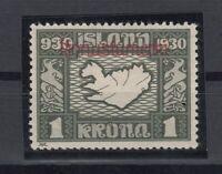 E3140/ ICELAND – OFFICIAL – MI # 55 MINT MH CERTIFICATE – CV 385 $