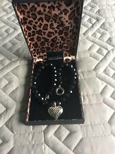 Chateau D'Argent faceted black agate necklace with silver heart enhancer
