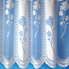 Floral Panel Jacquard White Net Curtain With Scalloped Bottom SOLD BY THE METRE