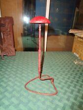 "Vintage Antique Millinery Hat Holder Display Stands Red Wood & Metal rack 9"""