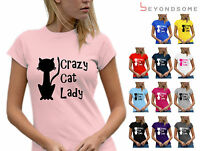WOMENS FUN CRAZY CAT LADY T-SHIRT TSHIRT BIRTHDAY GIFT FOR HER VARIOUS SIZES