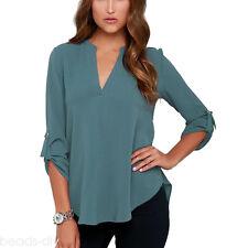 Women Chiffon V-neck Top Long Sleeve Shirt Casual Blouse Loose T-shirt Summer