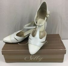 Vintage Selby Womens 8 1/2 Shoes White Pearl Kid & Patent Leather Kayla Strappy