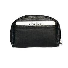 LORENZ ACCESSORIES Black Soft Leather Credit Card Slot Money Coin Purse
