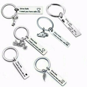 Keyring Drive Safe I Need You Here With Me Heart Keychain New Driver Xmas Gifts