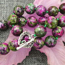 """New 12mm green ruby gemstone Necklace 18"""" Tibetan silver love clasps"""