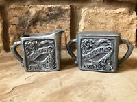 Vintage 60s Pewter Sugar And Creamer Mid Century Welcome Friends Heart Flower