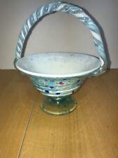 Fenton Blue speckled glass basket