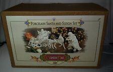 2001 Grandeur Noel Collector's Edition Porcelain Santa, Reindeer & Sleigh Set
