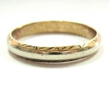 L@@K Solid 14K Yellow White GOLD Antique Design Wedding Band Ring sz 11 unisex