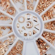 12 shapes rose gold metal 3d nail art decorations studs nails accessories wheel