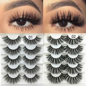 SKONHED 5 Pairs 3D Faux Mink Hair False Eyelashes Long Thick Wispy Lashes