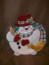 Fitz & Floyd Essentials Plaid Snowman Canape Tidbit Tray Wall Plate Christmas