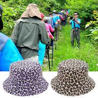 Double Sided Women Leopard Print Bucket Hat Outdoor Fisherman Sunshade Cap