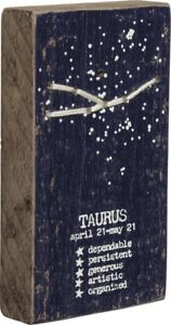 """TAURUS Constellation Wooden Block Magnet Sign 1.75"""" x 3.25"""", Primitives by Kathy"""