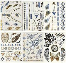 12 Sheet Temporary Metallic Tattoos Gold Silver Black Flash Tattoos Inspired UK