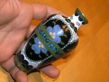 Antique Japanese Early Meiji Period Brass Wire Miniature Cloisonne Vase