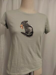 COLUMBIA Women's Sz L Short Sleeve T-Shirt Lt green Squirrel with smore Cotton