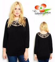 Urban Plus Black Crochet Lace 3/4 Sleeve Jersey Tunic Shirt Peasant Top 1X 2X 3X