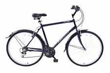 "Downtown 700c Wheel Mens Hybrid Bike Alloy 22"" Frame Dark Blue 18 Speed Shimano"