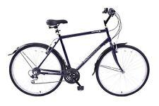"Downtown 700c Wheel Mens Hybrid Bike Alloy 18"" Frame Dark Blue 18 Speed Shimano"