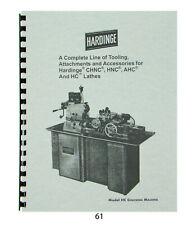 Hardinge Tooling Amp Attachments For Models Chnc Hnc Ahc Amp Hc Lathes Catalog61