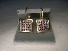Wonderful Antique 14K Pink Gold Rose Cut Diamond Ruby Dangle Drop Earrings
