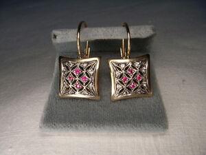 Wonderful Antique 14K Pink Gold Rose Cut Diamond Ruby Dangle Drop Earrings