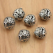 THAI .925 STERLING SILVER VINTAGE 10mm ROUND FLOWER WEAVED FOCAL BEAD #727 - (1)