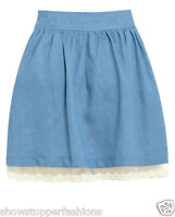 New Womens Lace Skater Skirt Denim Chambray Skirts Ladies Blue Size 6 8 10 12 14