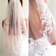 Long Ivory White Bridal Wedding Veil 1T Lace Edge Beaded Applique Without Comb