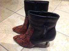 BNWT M&S Black &Tan Snake Skin Animal Print Leather Ankle Boots Uk 6.5 RRP £69