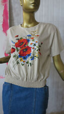 Damen Shirt Trachtentop 90er Blumen Bluse TRUE VINTAGE 90s top summer cotton
