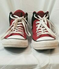 Converse All Star Stars Chuck Taylor Sneakers Red Black High Hi Canvas Mens 8.5