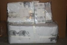 6p Pottery Barn Kids Taylor crib skirt bumper quilt sheet sham & pillow elephant