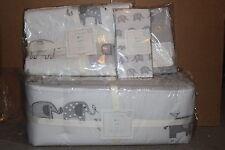 6p Pottery Barn Kids Taylor crib skirt bumper quilt sheet sham & pillow elephant