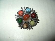 Vintage MIRACLE Silvertone & Agate Stones Celtic Scottish Kilt Brooch Pin