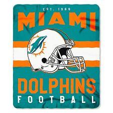 "NFL Miami Dolphins Singular Design Large Soft Fleece Throw Blanket 50"" X 60"""